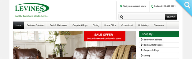 levines furniture store 3i media website design