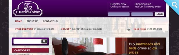mattress shire ecommerce 3i media website design